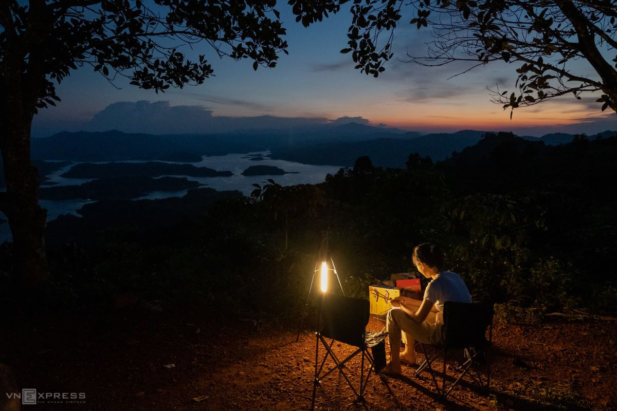 Camping by Central Highlands lake Ta Dung