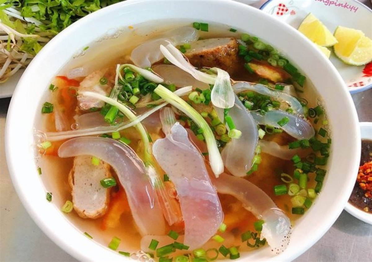A bowl of jellyfish noodle soup